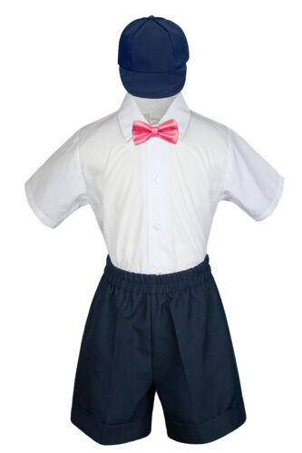 4pc Boy Toddler Formal Coral Pink Bow Tie Hat Shorts  Navy Gray Dark Khaki S-4T