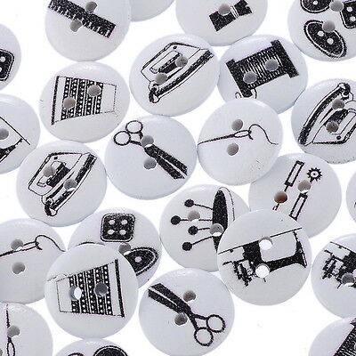 Wholesale 100PCs Wood Buttons Sewing Tools Scissor Pattern Printed Black White