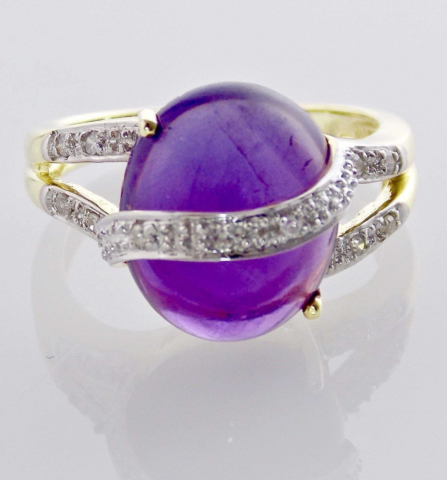 Amethyst Ring 14KT YELLOW gold 6.65CT CABOCHON AMETHYST W  DIAMOND ACCENT RING