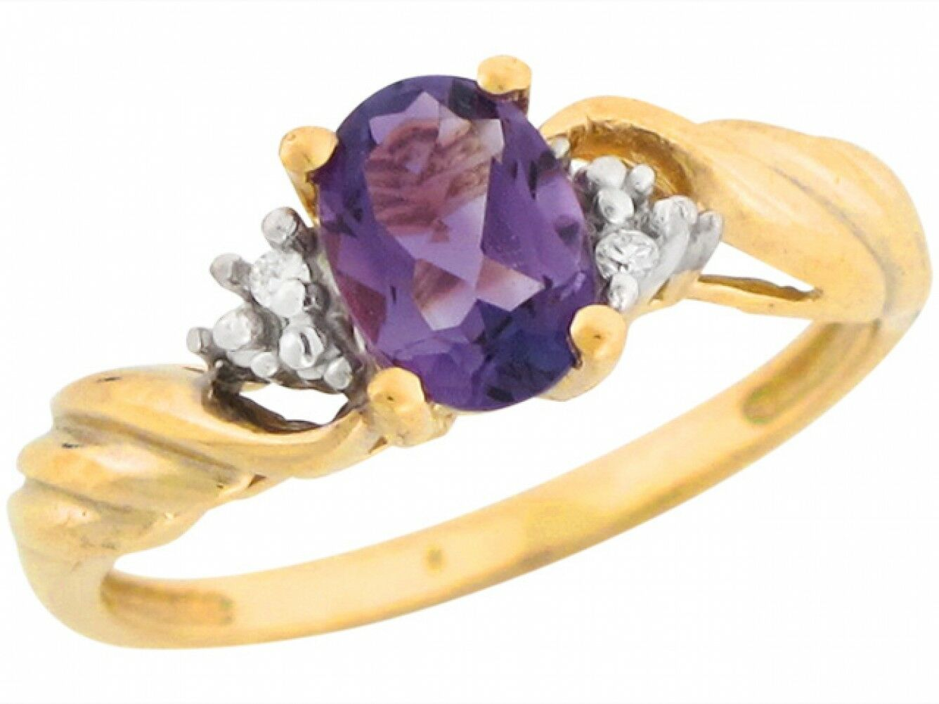 10k or 14k Solid gold Real Amethyst Diamond Accents Wrap Style Ladies Ring