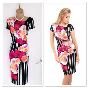 be1eb91a9205d2 Image is loading JOSEPH-RIBKOFF-Floral-amp-Striped-Bodycon-Dress-With-