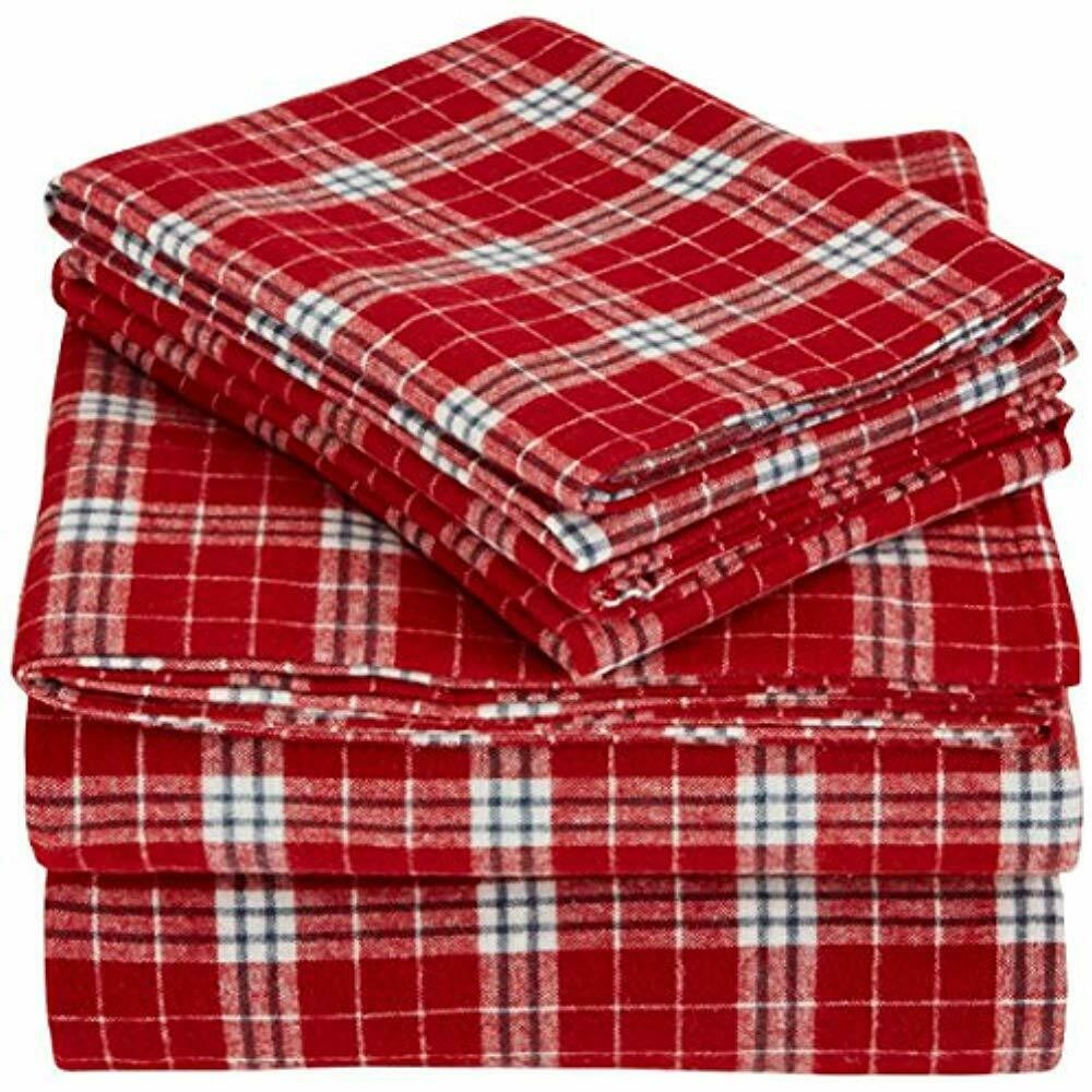 Pinzon 160 Sheets & Pillowcases Gram Plaid Flannel Set - King, Bordeaux Home