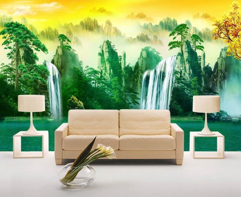 3D Wasserfall Hügel 853 Tapete Wandgemälde Tapete Tapeten Bild Familie DE Summer  | Feine Verarbeitung  | Exquisite (in) Verarbeitung  | Um Sowohl Die Qualität Der Zähigkeit Und Härte