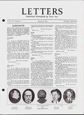 LETTERS - TIME MAGAZINE (1935) POLITICS, NEW DEAL, GREELY, HITLER, MUSSOLINI