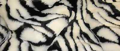 BLACK AND WHITE ZEBRA FAUX FUR FABRIC BY THE YARD
