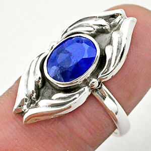 925 Sterling Silver 3.14cts Solitaire Natural Blue Sapphire Ring Size 7 T40677