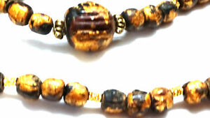 Metallic-gold-painted-Beaded-Long-Necklace