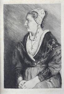 André Jacques (1880-1960) Portrait De Savoyarde Eau-forte Savoie Escoula Annecy