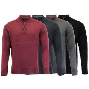 Mens-Knitted-Jumper-Kensington-Eastside-Sweater-Pullover-Top-Funnel-Neck-Winter