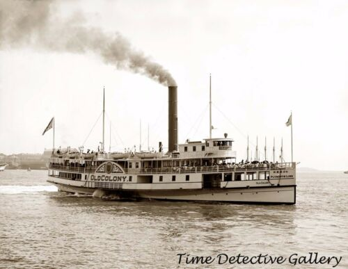 "Sidewheeler Smship Riverboat ""Old Colony"" 1905 Historic Photo Print"