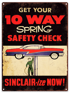 Sinclair Safety Gas Pump Check Advertising Ad Baked Metal Repro Sign 9x12 60151