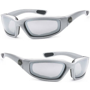 a05666b149b Image is loading Choppers-Foam-Padded-Wind-Resistant-Sunglasses -Silver-Flash-