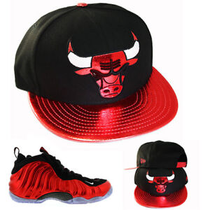 New Era Chicago Bulls Snapback Hat Match Nike Foamposite Pro ... 11d5db971521