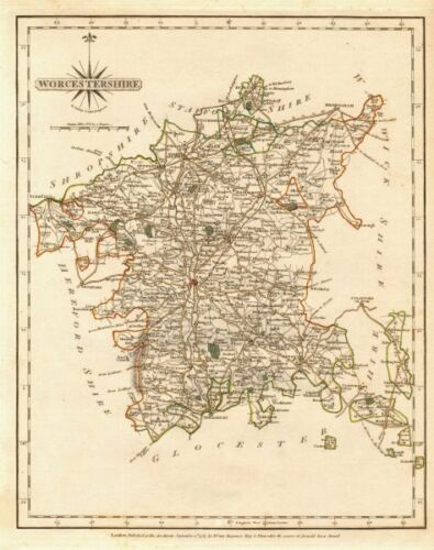 Original outline colour 1787 Antique county map of WORCESTERSHIRE by JOHN CARY