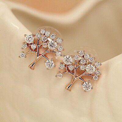 Lady 18K Rose Gold Filled Sparkling Swarovski Crystal Tree of Life Stud Earrings