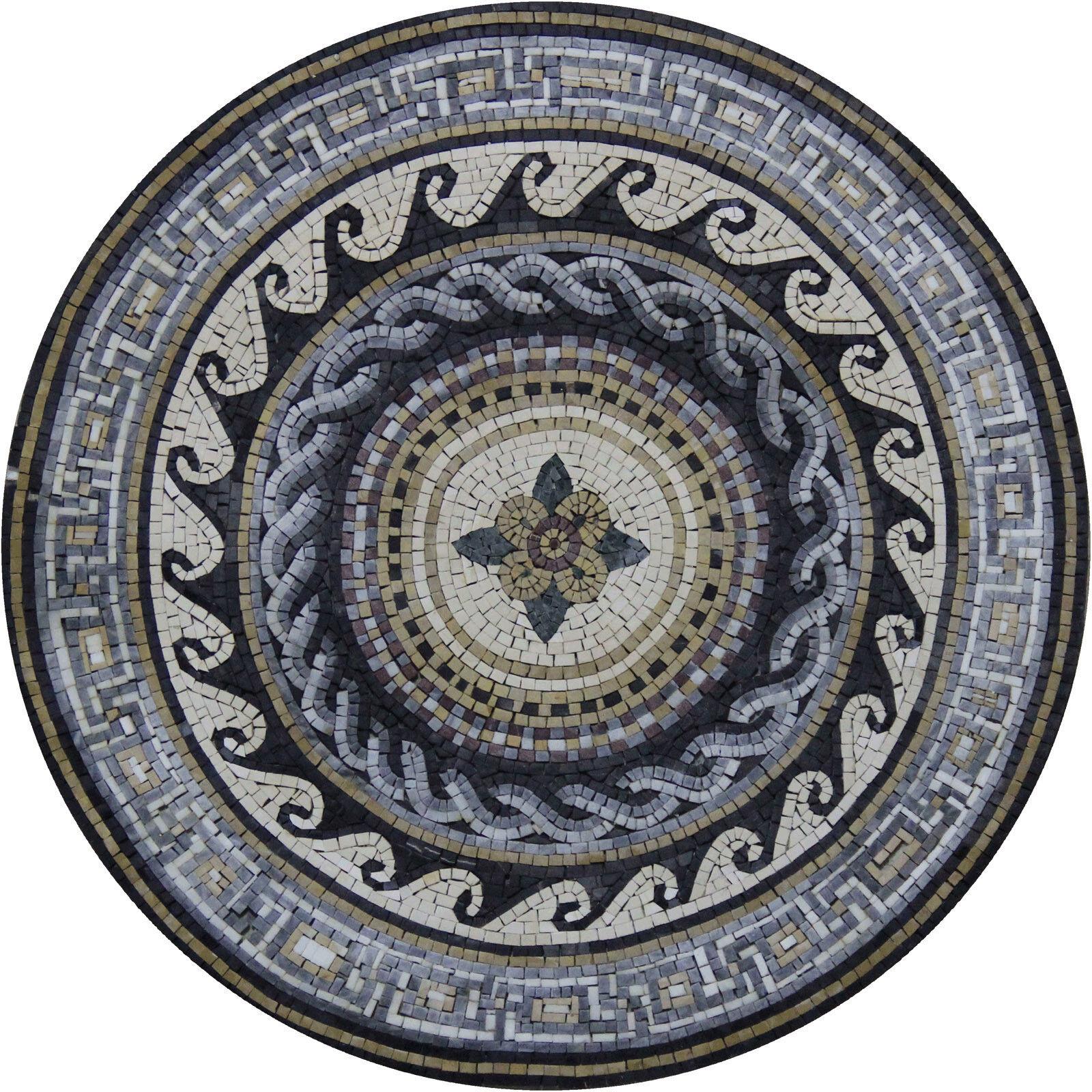 Mid Flower Wavy Border Greek Frame Design Marble Mosaic MD1859