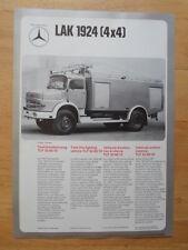 MERCEDES BENZ LAK 1924 & LA 1519 4x4 Fire Fighting Vehicle 1974 Leaflet Brochure