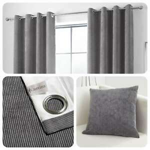Curtina-KILBRIDE-CORD-Charcoal-Chenille-Eyelet-Curtains-amp-Cushions