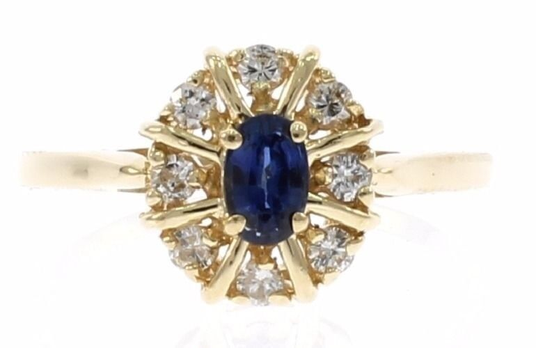 bluee Sapphire and Diamond Ladies Ring in 14kt Yellow gold September birth Stone