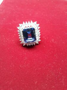 Vintage-5000-5ct-Sapphire-with-Diamond-14k-White-Gold-Over-925-Engagement-Ring