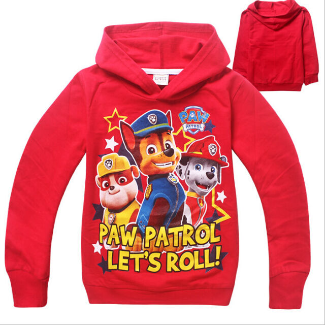 PAW PATROL LET'S ROLL HOODIE BOYS GIRLS Dogs CLOTHING TOP JUMPER UK HOT 2-8Y