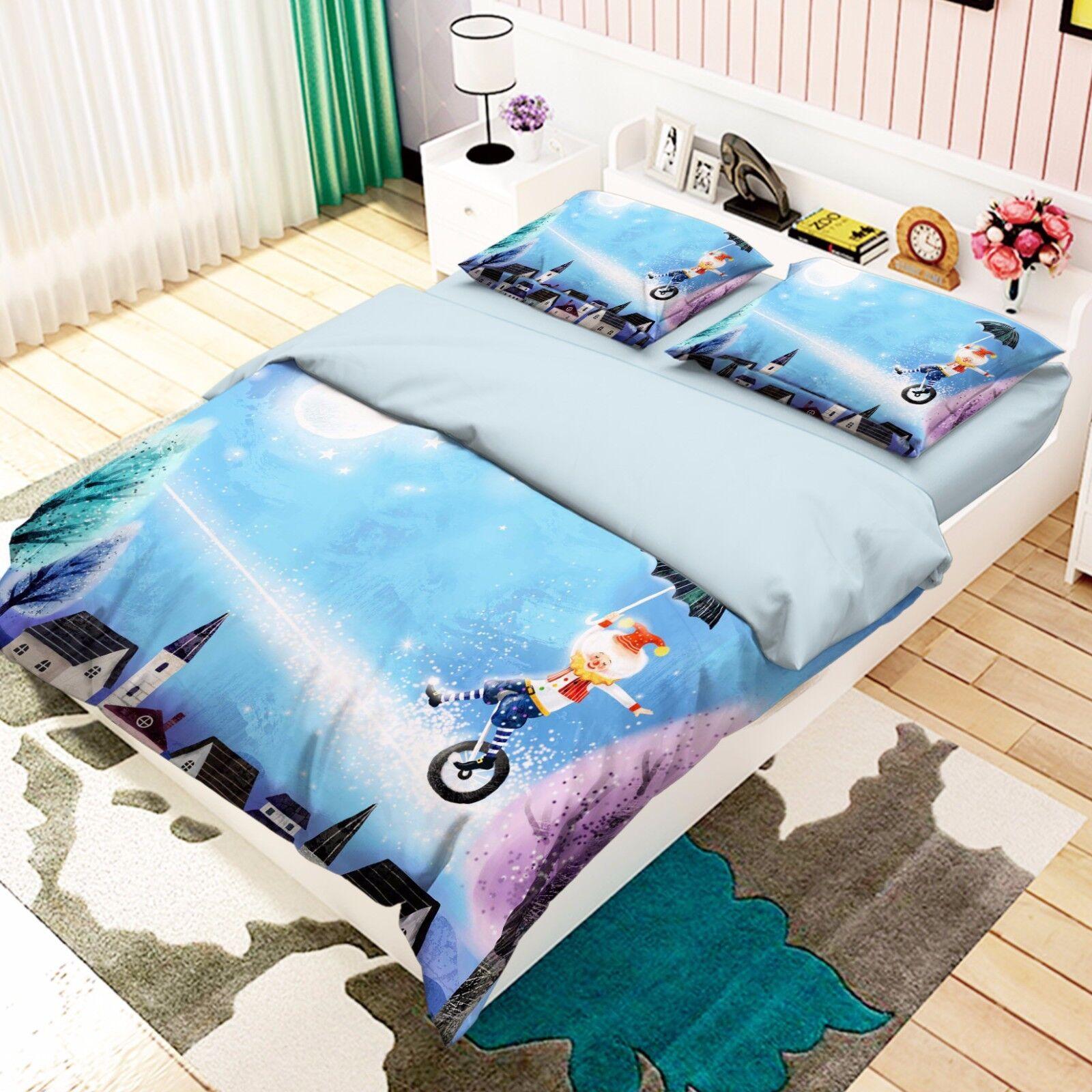 3D Bär Zirkus 737 Bett Kissenbezüge steppen Duvet Decken Set Single DE Carly