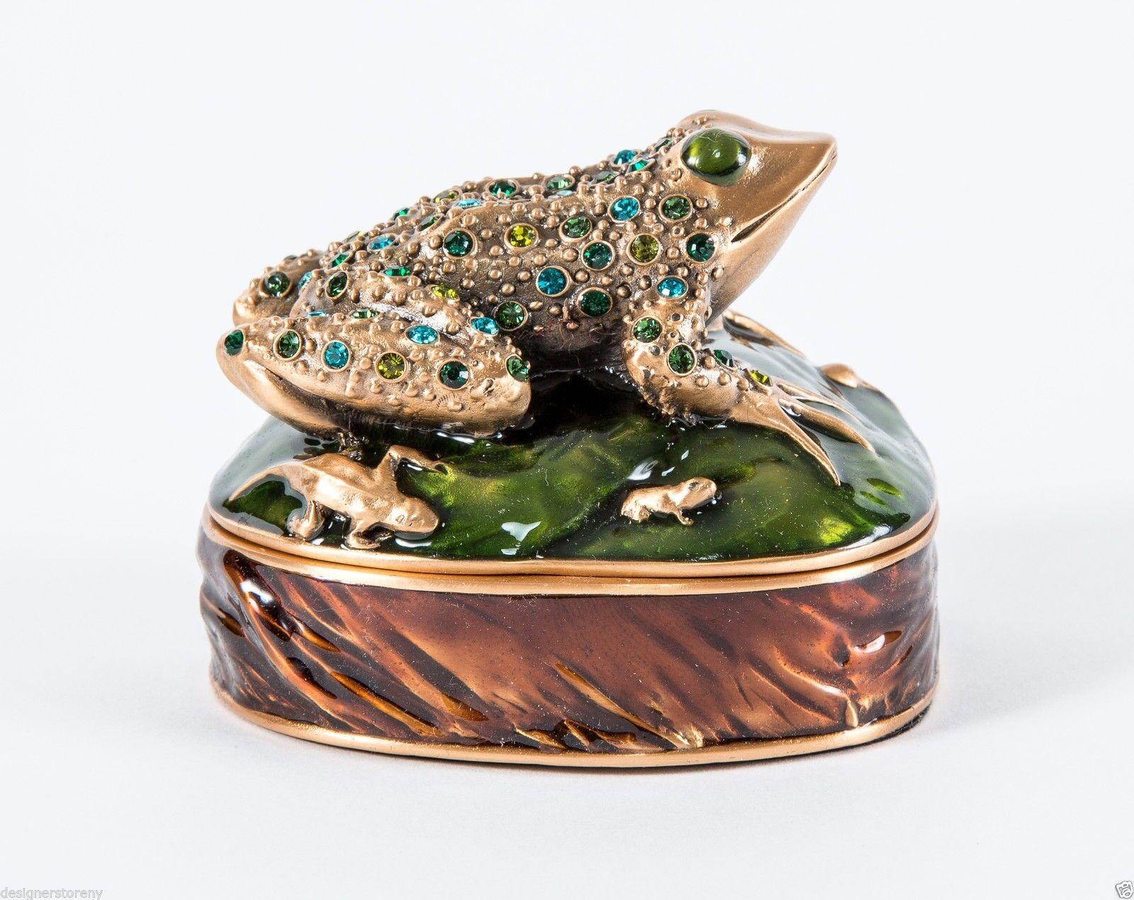Edgar Berebi Leap Frog Caja Caja de joyería Museo Chapado en oro con Piedras 7217 3