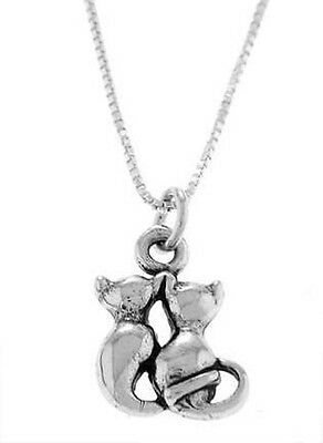 STERLING SILVER TWO CATS WITH INTERTWINE TAILS CHARM WITH BOX CHAIN NECKLACE