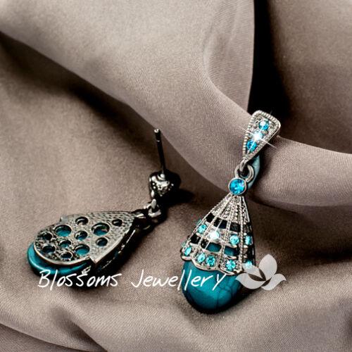 Vintage ANTIQUE STL Ladies TEARDROP Blue TURQUISE Stone DANGLE EARRINGS HC0150