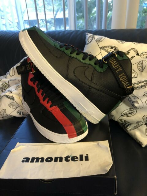 f1f3137a4f4 Nike Air Force 1 High BHM QS Equality Black Red Green 836227-002 Size 11.5