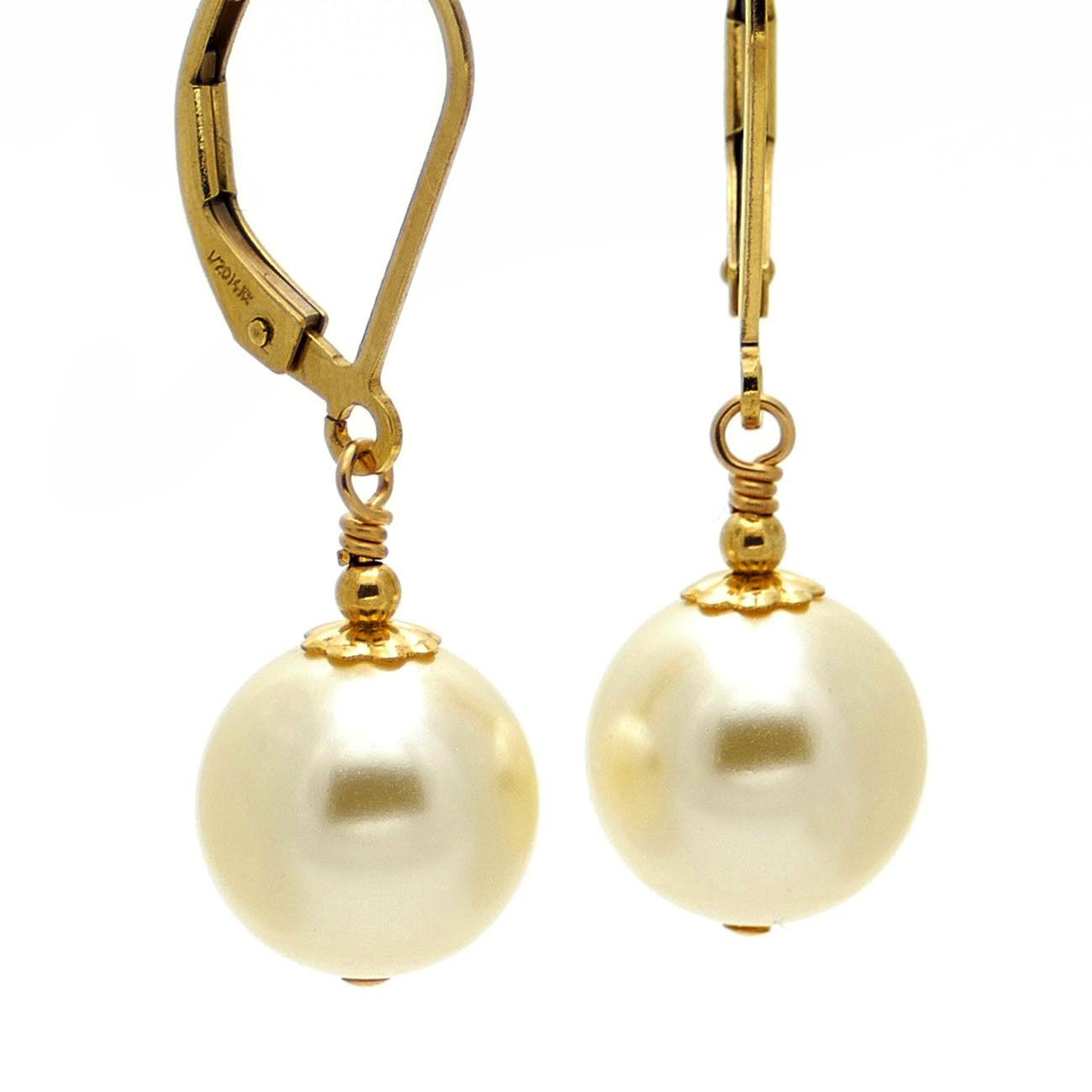 KLASSIKER ● 10mm ●  SC Perlen Ohrringe creme white ygf 14k gold 585