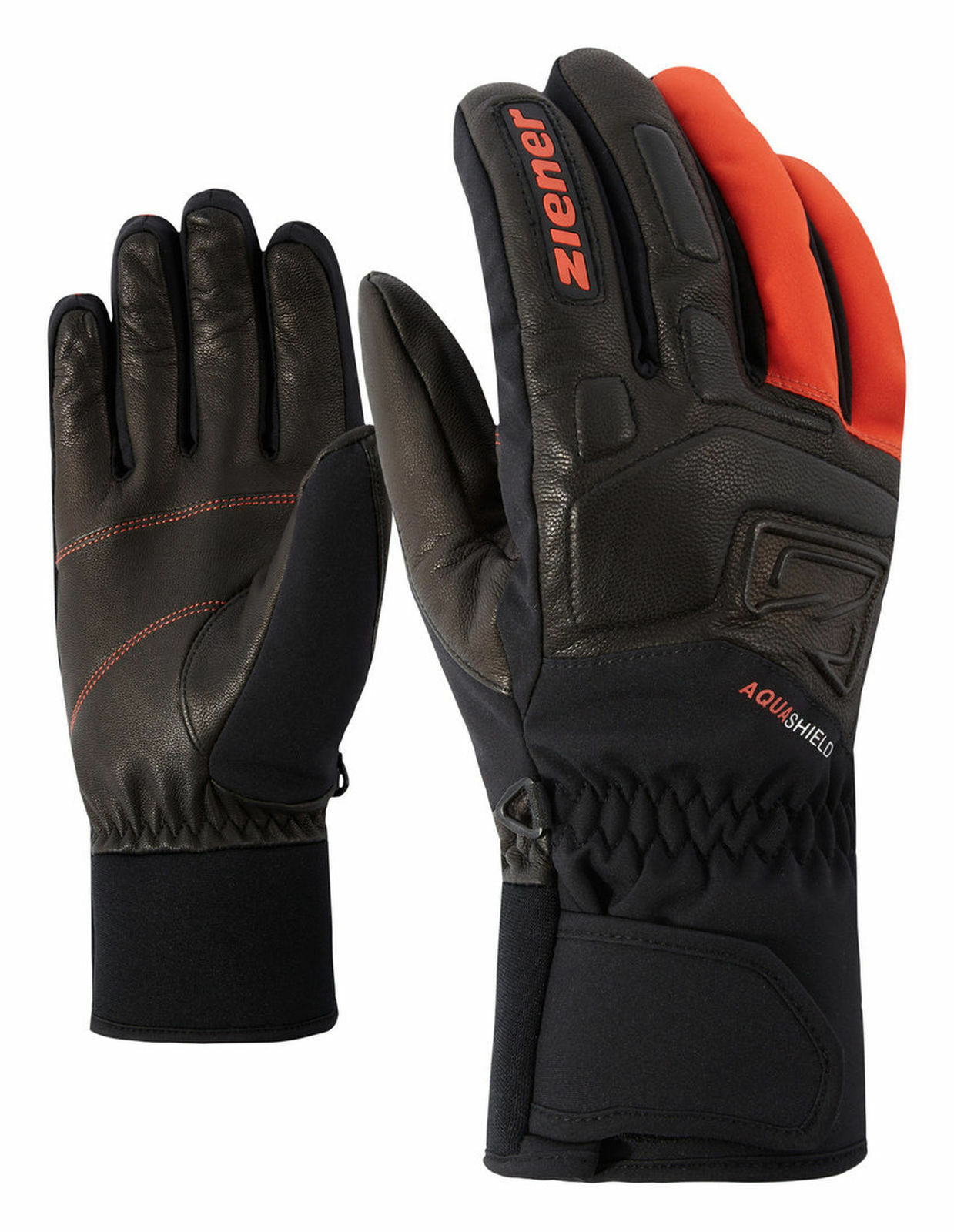 Ziener AS® Herren Skihandschuhe GLYXUS AS® Ziener glove schwarz Orange 54675e