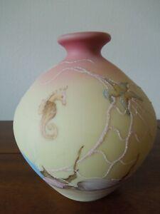 Fenton-Art-Glass-Burmese-Sea-Life-Vase-Limited-Edition-1985
