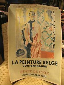 antigua-cartel-arte-la-pintura-belga-artista-pintura