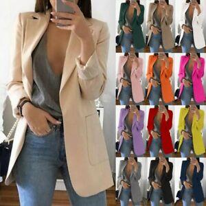 Donne-Lady-manica-lunga-Slim-Blazer-Tuta-Cappotto-Giacca-Lavoro-Formale-Suit-Plus-Size