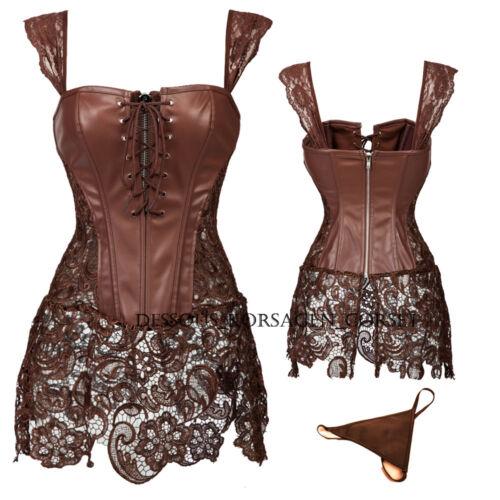 UK Fashion Bustier Corset Boned Lace-up Burlesque Basque lingerie Rouge Size AS