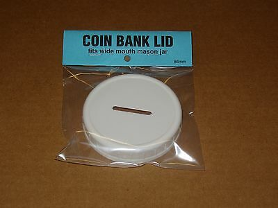 Slotted Coin Bank Lid For Mason Jar , Wide Mouth Plastic.