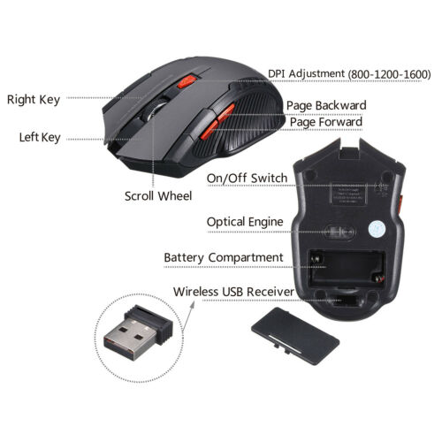 Mac OS,Laptop 2.4Ghz 1600 DPI Wireless Optical Gaming Mouse Mice for Windows