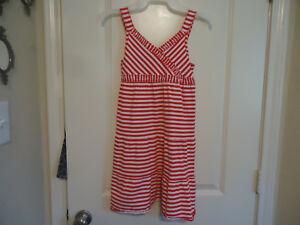 798cc85a18a7 J. Khaki Girls Size M Red   White Striped Dress Sleeveless V-Neck ...