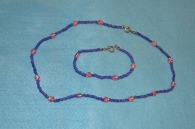Blue And Pink Beaded Necklace And Bracelet Jewellery & Watches Costume Jewellery