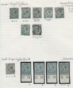 1912-26-WATERMARK-ROYAL-BLOCK-CYPHER-4d-GREEN-SHADES-USED-amp-CONTROL-COLLECTION