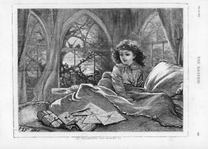 1874-Antique-Print-FINE-ART-St-Valentines-Waking-Up-Girl-Bed-Letters-133