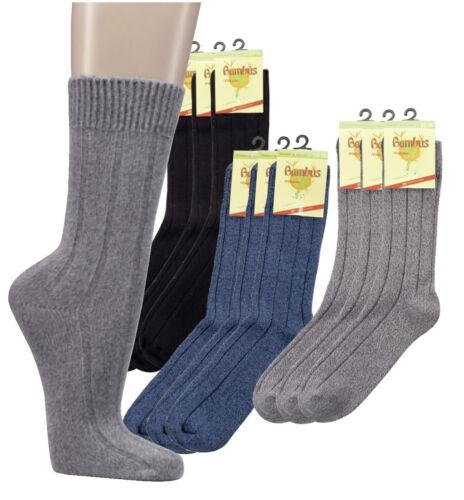 3 Paar dicke schwarze Socken aus Bambus Naht 40 /% Viskose  30 /% BW superweich