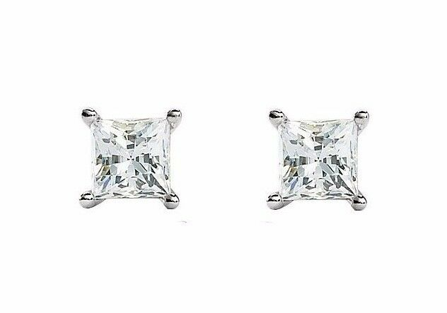 14k gold Forever ONE Near colorless Moissanite Princess Earrings, square cut
