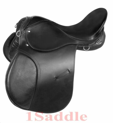 15 16 17 BLACK ENGLISH SADDLE HORSE ALL PURPOSE BRIDLE REINS LEATHER IRONS GIRTH