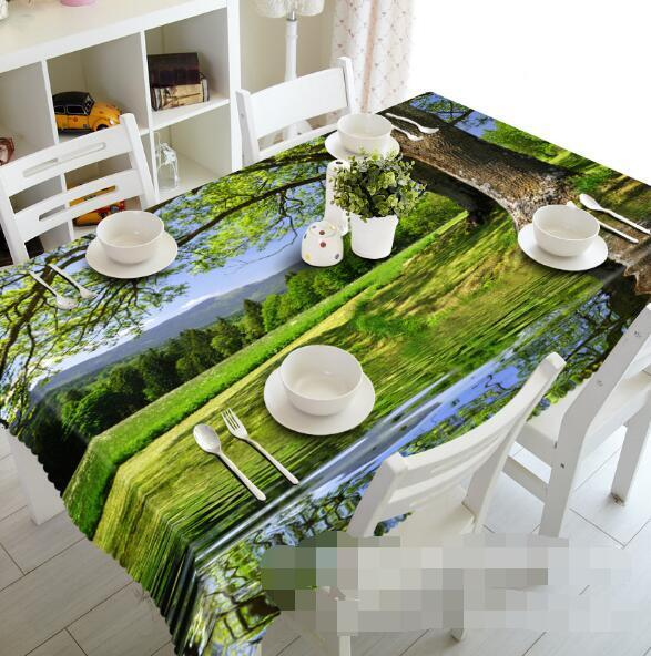 3D Lakeside Trees Tablecloth Table Cover Cloth Birthday Party Event AJ WALLPAPER