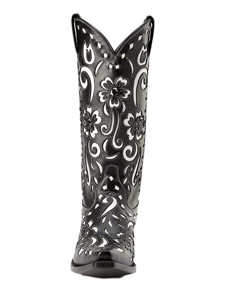 Miss Macie Women/'s Black White Southern Grace Snip U6001-01 Boots NWT 6.5-8M