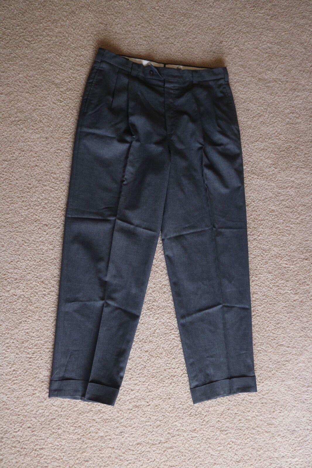 Alexander Julian Men's Flat Front Dress Pants 100% Wool Grey