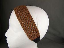 Brown crochet knit wide soft stretch fabric headband hair band elastic