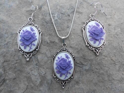 LAVENDER/PURPLE ROSE CAMEO NECKLACE AND EARRINGS SET (white) 925 PLATE-- QUALITY